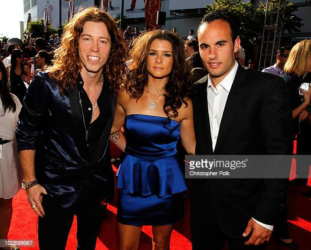 Olympian Shaun White race car driver Danica Patrick and soccer player Landon Donovan arrive at the 2010 ESPY Awards at Nokia Theatre LA Live on July...