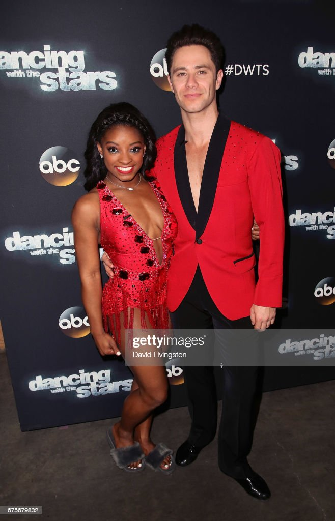 Olympian Simone Biles (L) and dancer Sasha Farber attend 'Dancing with the Stars' Season 24 at CBS Televison City on May 1, 2017 in Los Angeles, California.