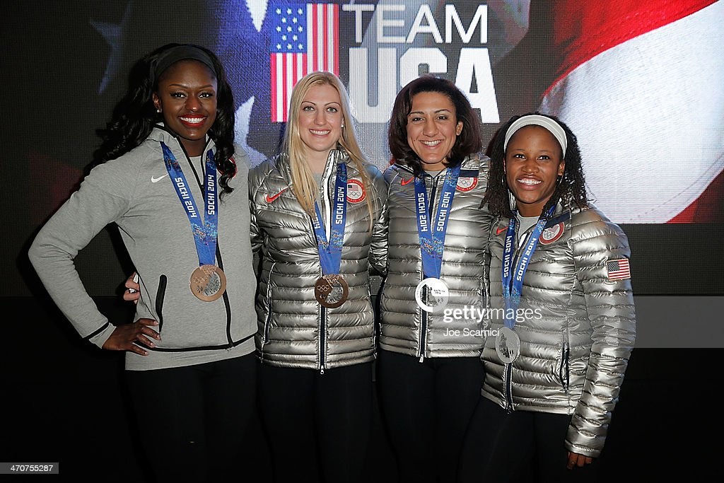 U.S. Olympians Aja Evans Jamie Greubel, Elana Meyers and Lauryn Williams visit the USA House in the Olympic Village on February 20, 2014 in Sochi, Russia.