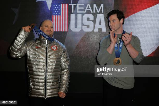 S Olympians and Bronze medalists Steven Holcomb and Steven Langton visit the USA House in the Olympic Village on February 18 2014 in Sochi Russia