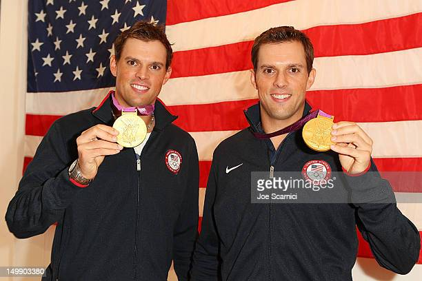 S Olympians Bob and Mike Bryan attend Citi's Signature Step event at USA House on August 6 2012 in London England