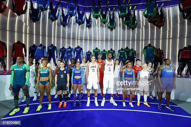 Olympians Elena Delle Donne Kevin Durant Ali Krieger Alyson Felix Megan Rapione Sanya Richards Ross pose with athelites from China Yi Jianlian Shao...