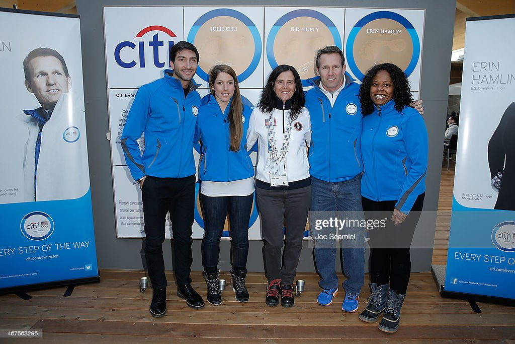 U.S. Olympians <a gi-track='captionPersonalityLinkClicked' href=/galleries/search?phrase=Evan+Lysacek&family=editorial&specificpeople=243028 ng-click='$event.stopPropagation()'>Evan Lysacek</a>, <a gi-track='captionPersonalityLinkClicked' href=/galleries/search?phrase=Erin+Hamlin&family=editorial&specificpeople=816605 ng-click='$event.stopPropagation()'>Erin Hamlin</a>, USOC Chief Marketing Officer Lisa Baird, U.S. Olympian <a gi-track='captionPersonalityLinkClicked' href=/galleries/search?phrase=Dan+Jansen&family=editorial&specificpeople=235919 ng-click='$event.stopPropagation()'>Dan Jansen</a> and Citi Director, Corporate Sponsorships and Marketing Tina Davis help to unveil Citi's Signature Step celebrating the Every Step of the Way Program at USA House on February 7, 2014 in Sochi, .