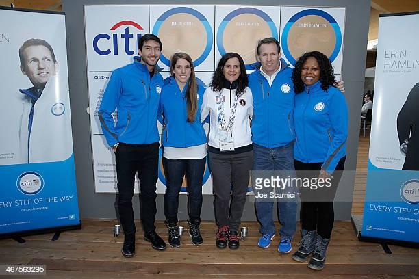 US Olympians Evan Lysacek Erin Hamlin USOC Chief Marketing Officer Lisa Baird US Olympian Dan Jansen and Citi Director Corporate Sponsorships and...