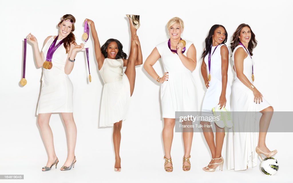 Olympians <a gi-track='captionPersonalityLinkClicked' href=/galleries/search?phrase=Gabby+Douglas&family=editorial&specificpeople=8465211 ng-click='$event.stopPropagation()'>Gabby Douglas</a>, <a gi-track='captionPersonalityLinkClicked' href=/galleries/search?phrase=Missy+Franklin&family=editorial&specificpeople=6623958 ng-click='$event.stopPropagation()'>Missy Franklin</a>, <a gi-track='captionPersonalityLinkClicked' href=/galleries/search?phrase=Kayla+Harrison&family=editorial&specificpeople=7179048 ng-click='$event.stopPropagation()'>Kayla Harrison</a>, <a gi-track='captionPersonalityLinkClicked' href=/galleries/search?phrase=Allyson+Felix&family=editorial&specificpeople=213459 ng-click='$event.stopPropagation()'>Allyson Felix</a> and <a gi-track='captionPersonalityLinkClicked' href=/galleries/search?phrase=Carli+Lloyd&family=editorial&specificpeople=736799 ng-click='$event.stopPropagation()'>Carli Lloyd</a> are photographed for Glamour Magazine on September 20, 2012 in New York City. PUBLISHED