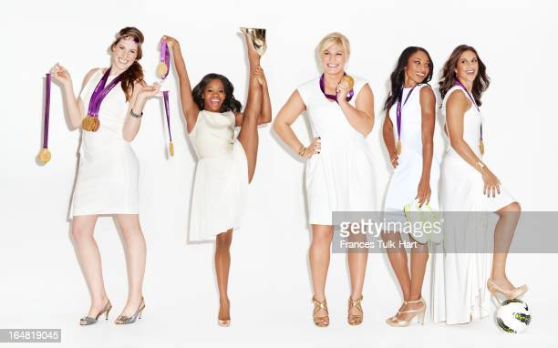 Olympians Gabby Douglas Missy Franklin Kayla Harrison Allyson Felix and Carli Lloyd are photographed for Glamour Magazine on September 20 2012 in New...