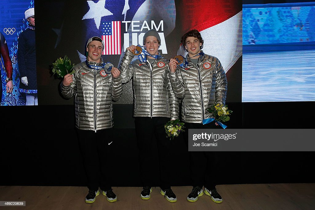 U.S. Olympians <a gi-track='captionPersonalityLinkClicked' href=/galleries/search?phrase=Gus+Kenworthy&family=editorial&specificpeople=6164869 ng-click='$event.stopPropagation()'>Gus Kenworthy</a>, <a gi-track='captionPersonalityLinkClicked' href=/galleries/search?phrase=Joss+Christensen&family=editorial&specificpeople=7454278 ng-click='$event.stopPropagation()'>Joss Christensen</a> and Nicholas Goepper visit the USA House in the Olympic Village on February 13, 2014 in Sochi, Russia.