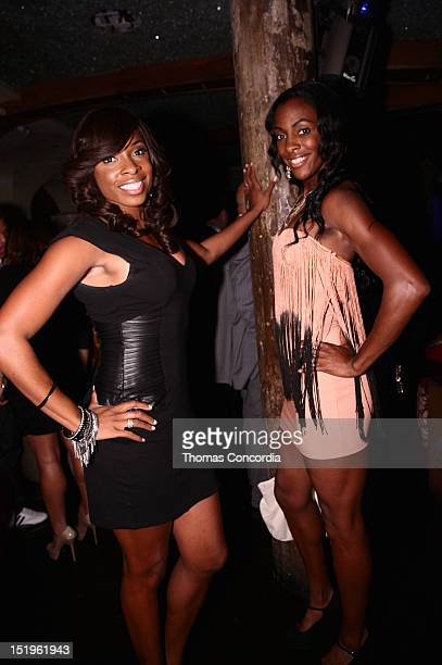 Olympians Hazel Clark and DeeDee Trotter attend the STYLE360 Boy Meets Girl closing Party at Kiss Fly Night Club at Kiss Fly on September 12 2012 in...