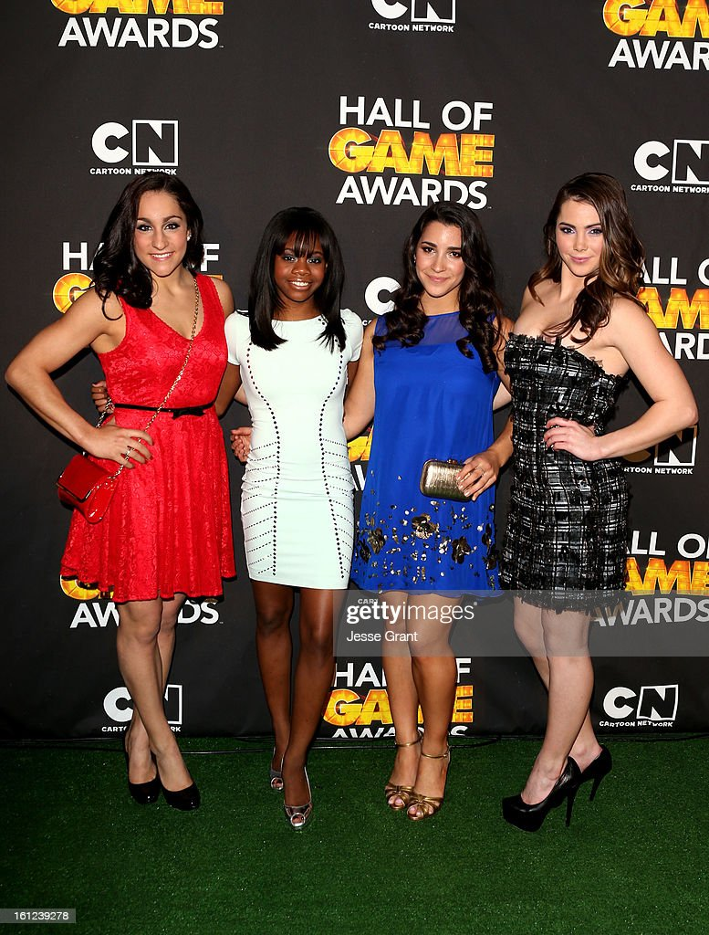 Olympians Jordyn Wieber, Gabby Douglas, Aly Raisman and McKayla Maroney attend the Third Annual Hall of Game Awards hosted by Cartoon Network at Barker Hangar on February 9, 2013 in Santa Monica, California. 23270_004_JG_0227.JPG