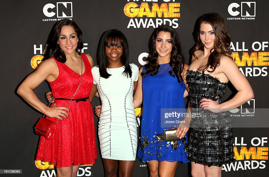 Olympians Jordyn Wieber, Gabby Douglas, Aly Raisman and McKayla Maroney attend the Third Annual Hall of Game Awards hosted by Cartoon Network at Barker Hangar on February 9, 2013 in Santa Monica, California. 23270_004_JG_0238.JPG