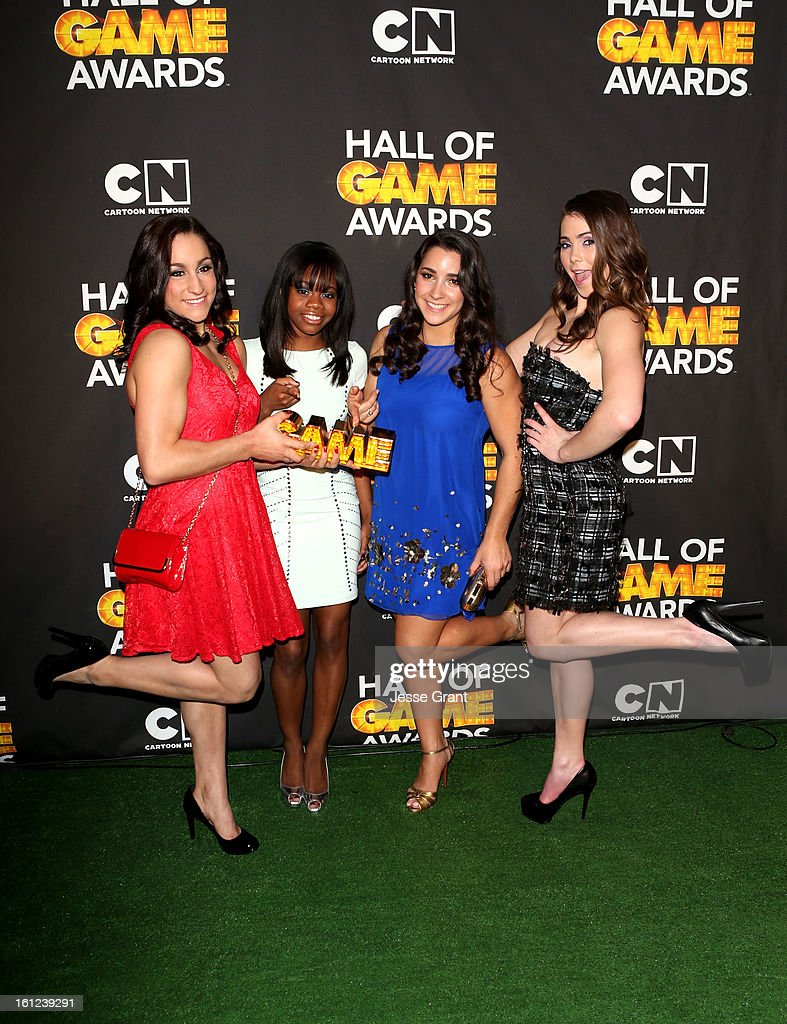 Olympians Jordyn Wieber, Gabby Douglas, Aly Raisman and McKayla Maroney attend the Third Annual Hall of Game Awards hosted by Cartoon Network at Barker Hangar on February 9, 2013 in Santa Monica, California. 23270_004_JG_0268.JPG