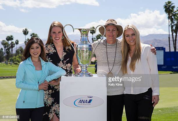 Olympians Kristi Yamaguchi Missy Franklin Abby Wambach and Lindsey Vonn pose with the ANA Inspiration trophy during the ANA Inspiring Women in Sport...