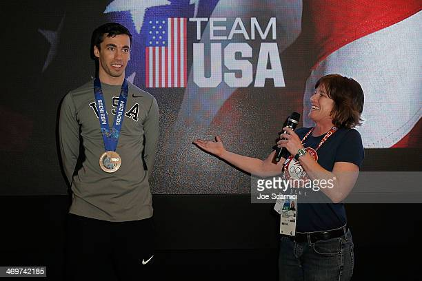 S Olympians Matthew Antoine and Sara visits the USA House in the Olympic Village on February 16 2014 in Sochi Russia