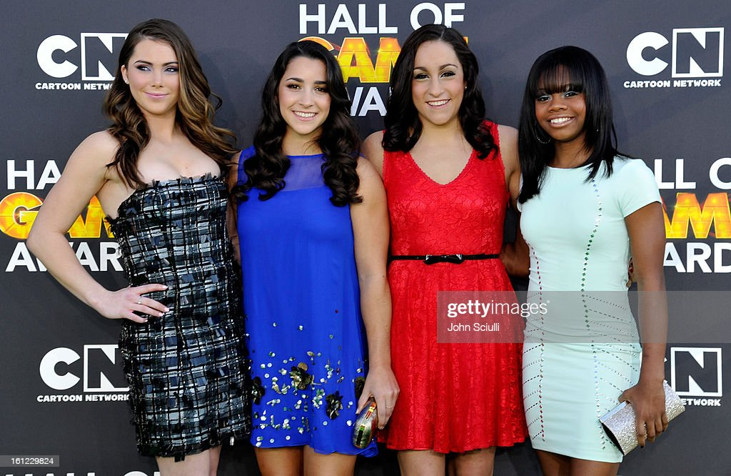 Olympians <a gi-track='captionPersonalityLinkClicked' href=/galleries/search?phrase=McKayla+Maroney&family=editorial&specificpeople=7138673 ng-click='$event.stopPropagation()'>McKayla Maroney</a>, Aly Raisman, <a gi-track='captionPersonalityLinkClicked' href=/galleries/search?phrase=Jordyn+Wieber&family=editorial&specificpeople=5720749 ng-click='$event.stopPropagation()'>Jordyn Wieber</a> and <a gi-track='captionPersonalityLinkClicked' href=/galleries/search?phrase=Gabby+Douglas&family=editorial&specificpeople=8465211 ng-click='$event.stopPropagation()'>Gabby Douglas</a> (L-R) attend the Third Annual Hall of Game Awards hosted by Cartoon Network at Barker Hangar on February 9, 2013 in Santa Monica, California. 23270_002_JS_0420.JPG