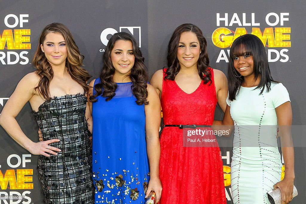 Olympians (L-R) <a gi-track='captionPersonalityLinkClicked' href=/galleries/search?phrase=McKayla+Maroney&family=editorial&specificpeople=7138673 ng-click='$event.stopPropagation()'>McKayla Maroney</a>, Aly Raisman, Jordyn Wieber and Gabby Douglas arrives at the 3rd Annual Cartoon Network's 'Hall Of Game' Awards held at Barker Hangar on February 9, 2013 in Santa Monica, California.
