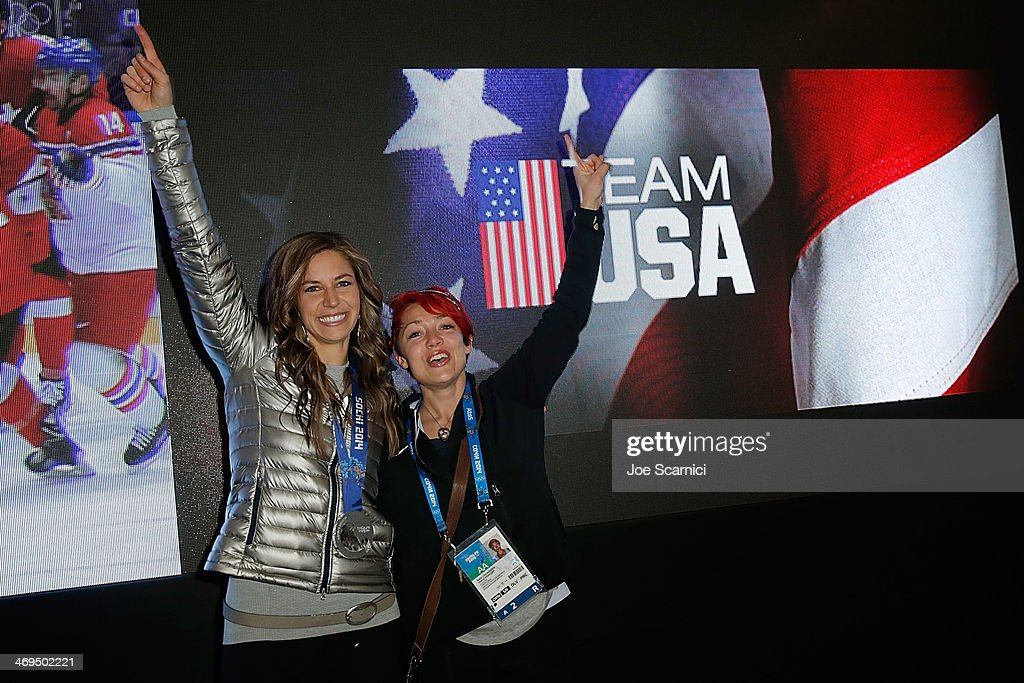 U.S. Olympians <a gi-track='captionPersonalityLinkClicked' href=/galleries/search?phrase=Noelle+Pikus-Pace&family=editorial&specificpeople=184522 ng-click='$event.stopPropagation()'>Noelle Pikus-Pace</a> and <a gi-track='captionPersonalityLinkClicked' href=/galleries/search?phrase=Katie+Uhlaender&family=editorial&specificpeople=724576 ng-click='$event.stopPropagation()'>Katie Uhlaender</a> visit the USA House in the Olympic Village on February 15, 2014 in Sochi, Russia.