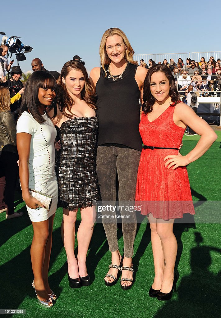 Olympians/'We Got Game' and 'Olympian Moment' nominees Gabb Douglas, McKayla Maroney, Jordyn Wieber (far right) and professional beach volleyball player/'Dynamic Duo' nominee Kerri Walsh Jennings (2nd from right) attend the Third Annual Hall of Game Awards hosted by Cartoon Network at Barker Hangar on February 9, 2013 in Santa Monica, California. 23270_002_SK_0850.JPG