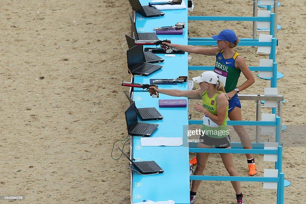 Olympiasieger olympic Champion Goldmedalist Gold Laura Asadauskaite LTU und Yane Marques BRA 3 Moderner Fünfkampf Modern Pentathlon 200 Meter Laufen...