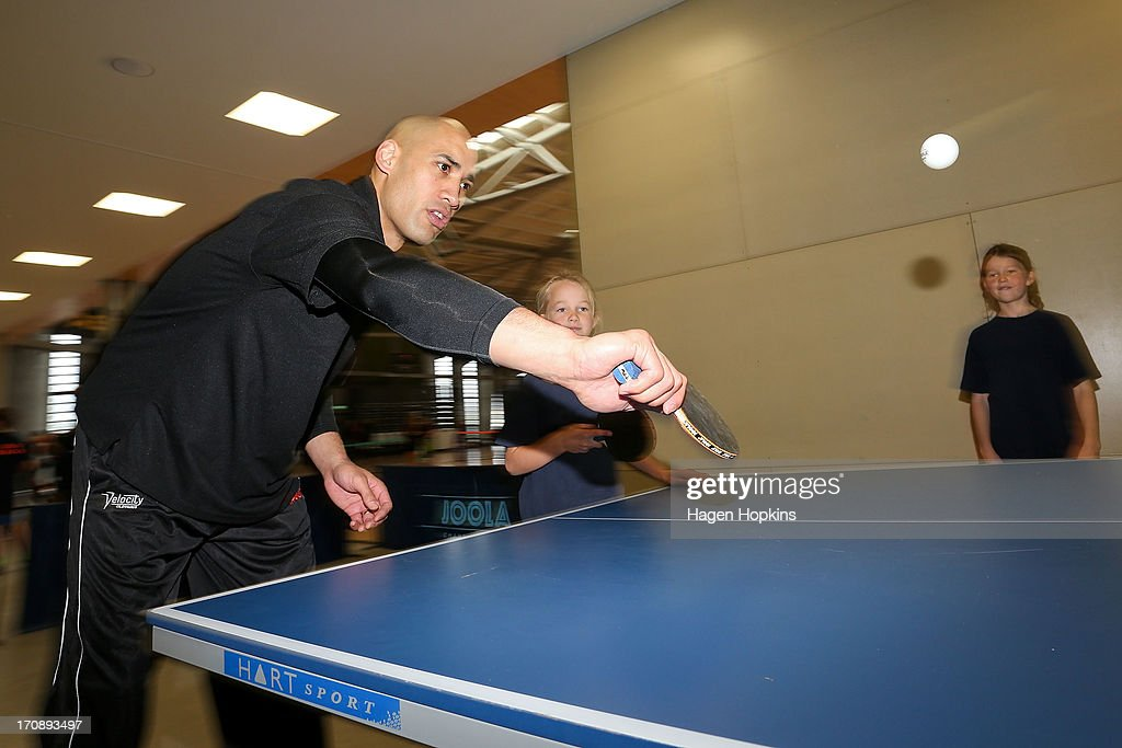 Olympic Ambassador Paora Winitana plays a game of table tennis during the launch of the New Zealand Olympic Ambassador Programme at ASB Sports Centre on June 20, 2013 in Wellington, New Zealand.
