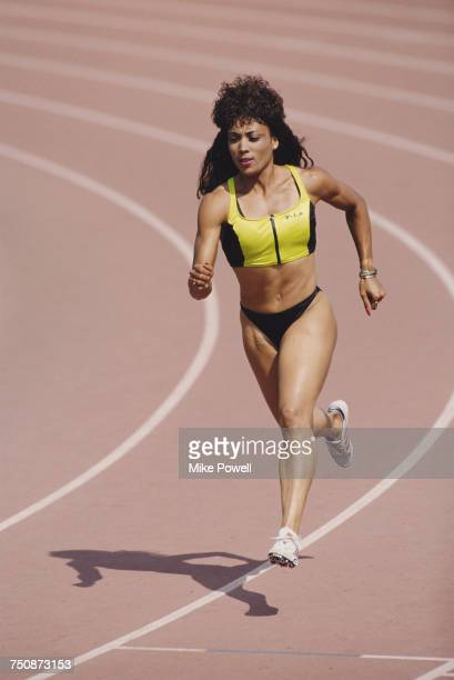 Olympic and IAAF World Championship Gold medal wiinning sprinter Florence GriffithJoyner of the United States during a training run on 1 February...