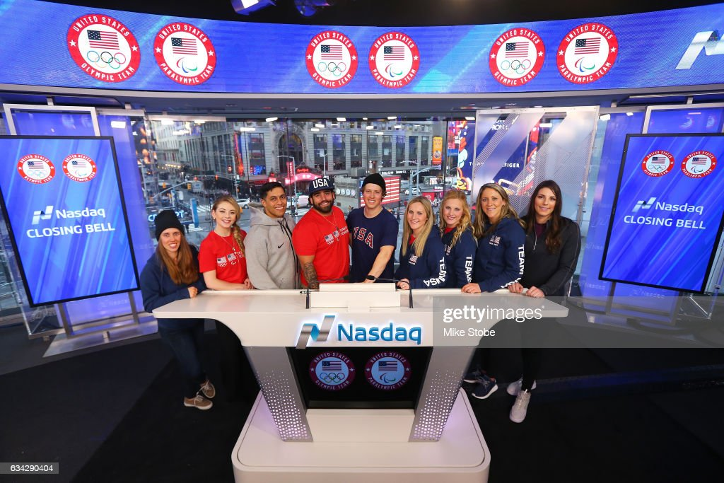 Olympic and Paralympic hopefulls Maddie Bowman, Gracie Gold, Rico Roman, Nikko Landeros, Joss Christensen, Monique Lamoureux, Jocelyne Lamourex, Meghan Duggan and Hilary Knight pose for a photo at the NASDAQ Stock Market on February 8, 2017 in New York City. Team USA celebrates the one-year countdown to the Olympic Winter Games PyeongChang 2018.