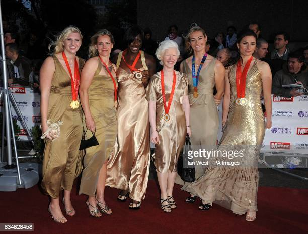 Olympic and Paralympic medalists Rebecca Adlington Ellen Hunter Christine Ohuruogu Aileen McGlynn Sarah Webb and Sarah Storey arrive for the Pride of...