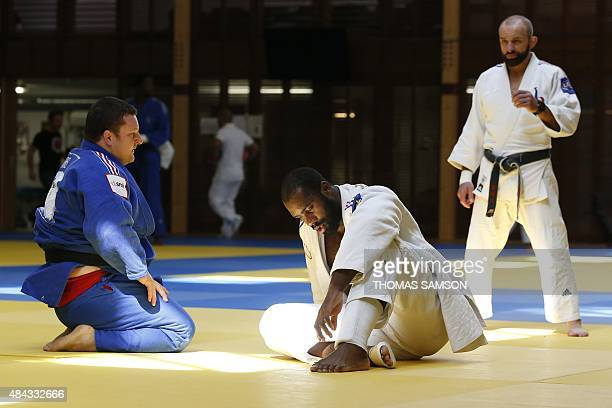Olympic and seventime heavyweight judo world champion Teddy Riner takes part in a training session at the French National Institute of Sport and...