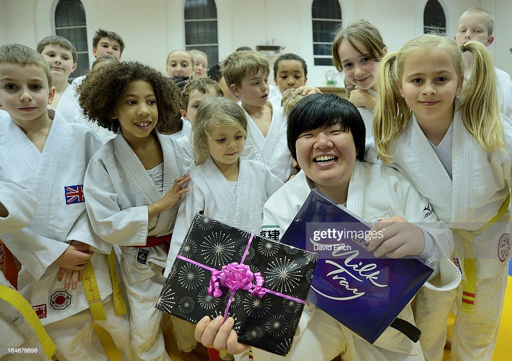 Olympic and World champion, <a gi-track='captionPersonalityLinkClicked' href=/galleries/search?phrase=Maki+Tsukada&family=editorial&specificpeople=2259682 ng-click='$event.stopPropagation()'>Maki Tsukada</a> of Japan, proudly shows her Special Awards presented by Connie Golding (right) during the <a gi-track='captionPersonalityLinkClicked' href=/galleries/search?phrase=Maki+Tsukada&family=editorial&specificpeople=2259682 ng-click='$event.stopPropagation()'>Maki Tsukada</a> Fellowship evening at the Northbrook Judo Club, Kingswood Hall, Kingswood Place on March 22, 2013 in Lewisham, London, England..