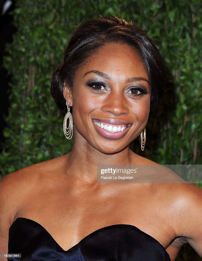 Olympic Athlete Allyson Felix arrives at the 2013 Vanity Fair Oscar Party hosted by Graydon Carter at Sunset Tower on February 24, 2013 in West Hollywood, California.
