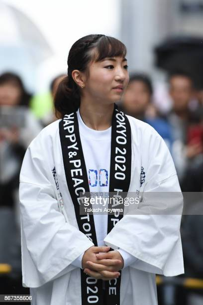 Olympic Athlete Asuka Teramoto attends the Tokyo 2020 Olympic 1000 Days Countdown event on October 28 2017 in Tokyo Japan