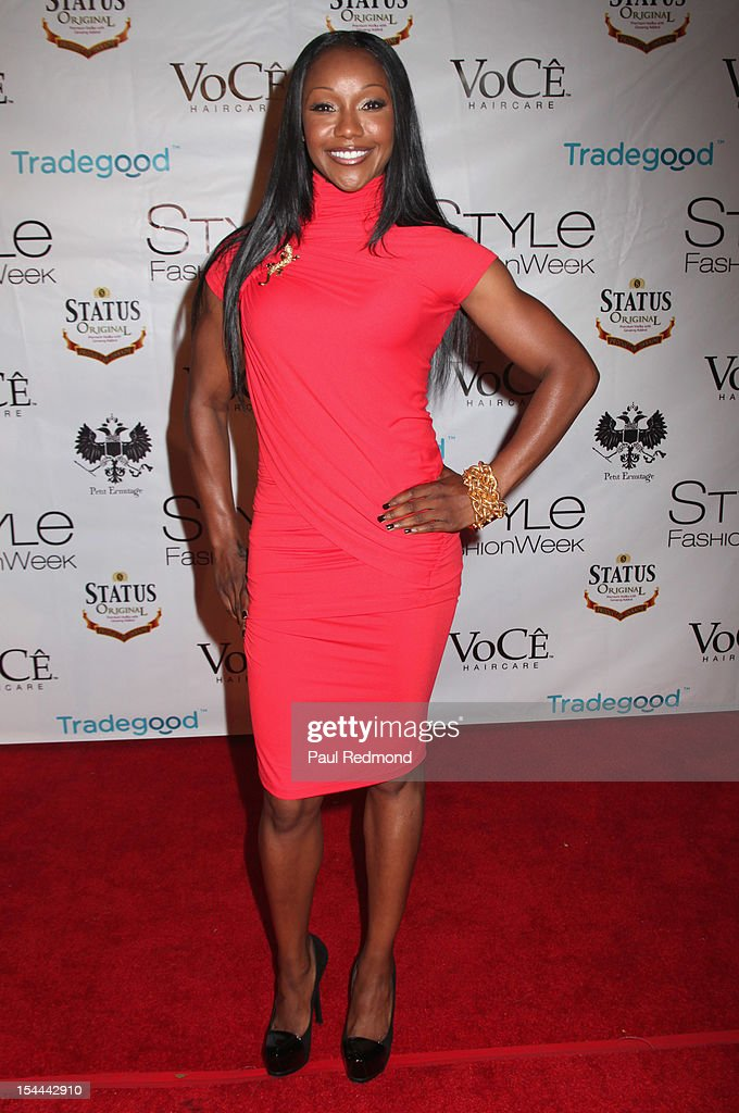 Olympic athlete Carmelita Jeter attends Alexis Monsanto Spring/Summer Collection 2013 Fashion Show at Vibiana on October 19, 2012 in Los Angeles, California.