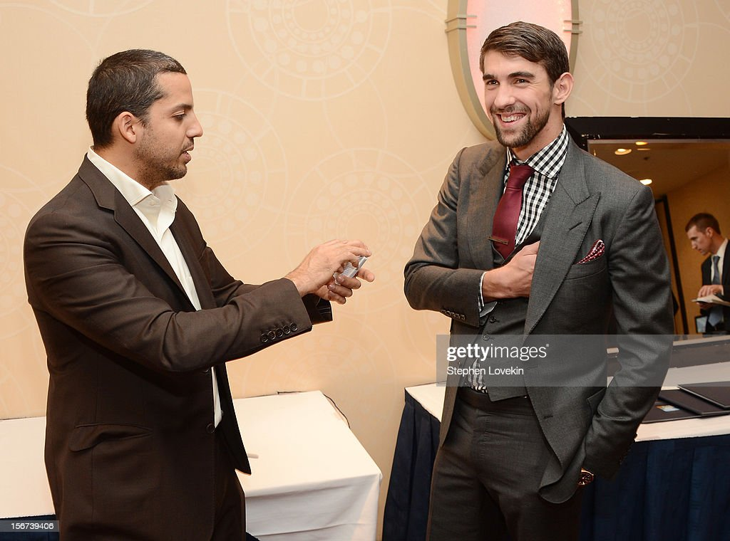 Olympic athlete Michael Phelps and magician David Blaine attend the 2012 Golden Goggle awards at the Marriott Marquis Times Square on November 19, 2012 in New York City.