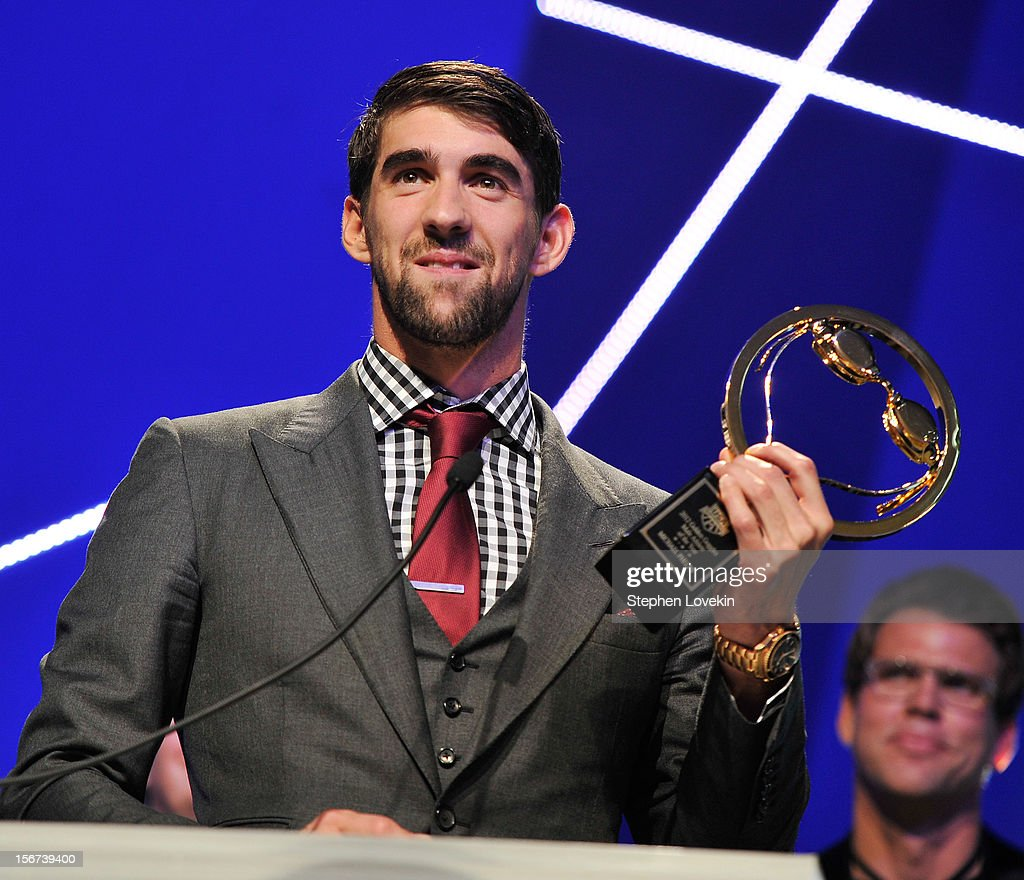Olympic athlete Michael Phelps attends the 2012 Golden Goggle awards at the Marriott Marquis Times Square on November 19, 2012 in New York City.