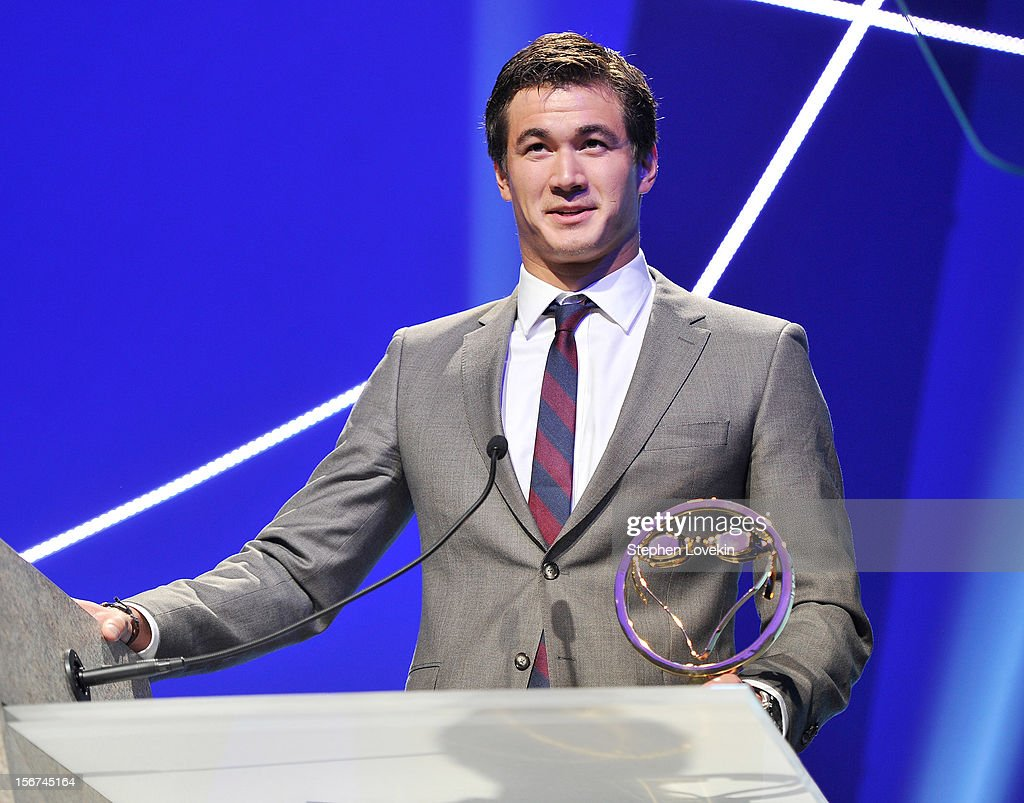 Olympic athlete <a gi-track='captionPersonalityLinkClicked' href=/galleries/search?phrase=Nathan+Adrian&family=editorial&specificpeople=712694 ng-click='$event.stopPropagation()'>Nathan Adrian</a> attends the 2012 Golden Goggle awards at the Marriott Marquis Times Square on November 19, 2012 in New York City.