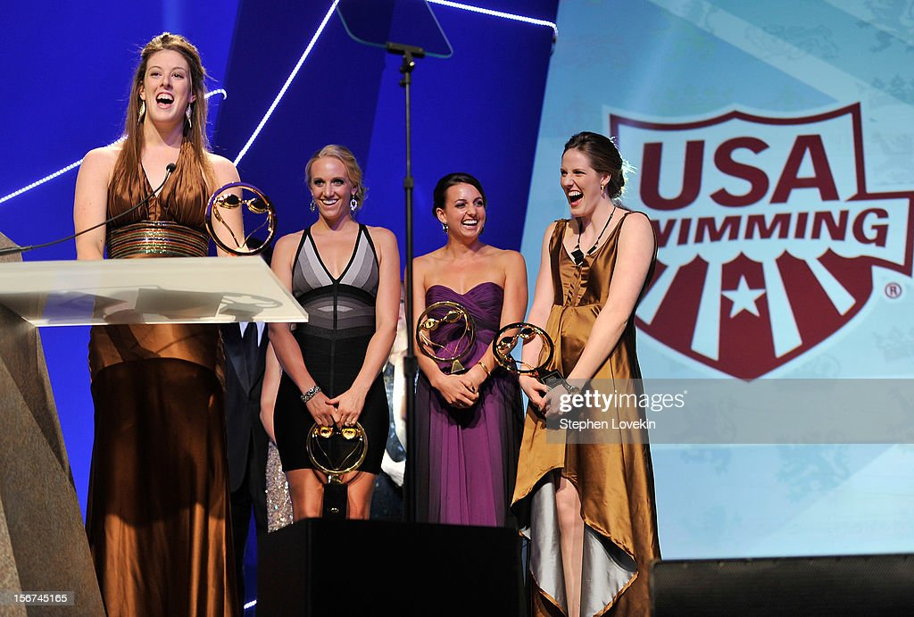 Olympic athletes Allison Schmitt, Dana Vollmer, Rebecca Soni, and Missy Franklin attend the 2012 Golden Goggle awards at the Marriott Marquis Times Square on November 19, 2012 in New York City.