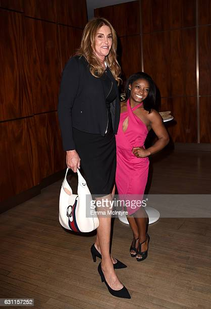 Olympic athletes Caitlyn Jenner and Simone Biles attend Life is Good at GOLD MEETS GOLDEN Event at Equinox on January 7 2017 in Los Angeles California