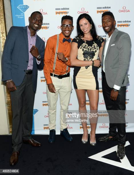 Olympic athletes David Rudisha Tony McQuay Jen Suhr and Michael Tinsley attend the adidas Grand Prix celebration hosted by OMEGA at the OMEGA Fifth...