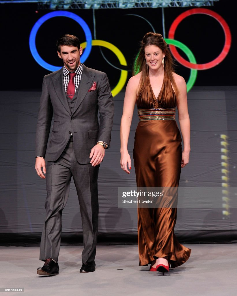 Olympic athletes <a gi-track='captionPersonalityLinkClicked' href=/galleries/search?phrase=Michael+Phelps&family=editorial&specificpeople=162698 ng-click='$event.stopPropagation()'>Michael Phelps</a> and <a gi-track='captionPersonalityLinkClicked' href=/galleries/search?phrase=Allison+Schmitt+-+Swimmer&family=editorial&specificpeople=4443033 ng-click='$event.stopPropagation()'>Allison Schmitt</a> attend the 2012 Golden Goggle awards at the Marriott Marquis Times Square on November 19, 2012 in New York City.