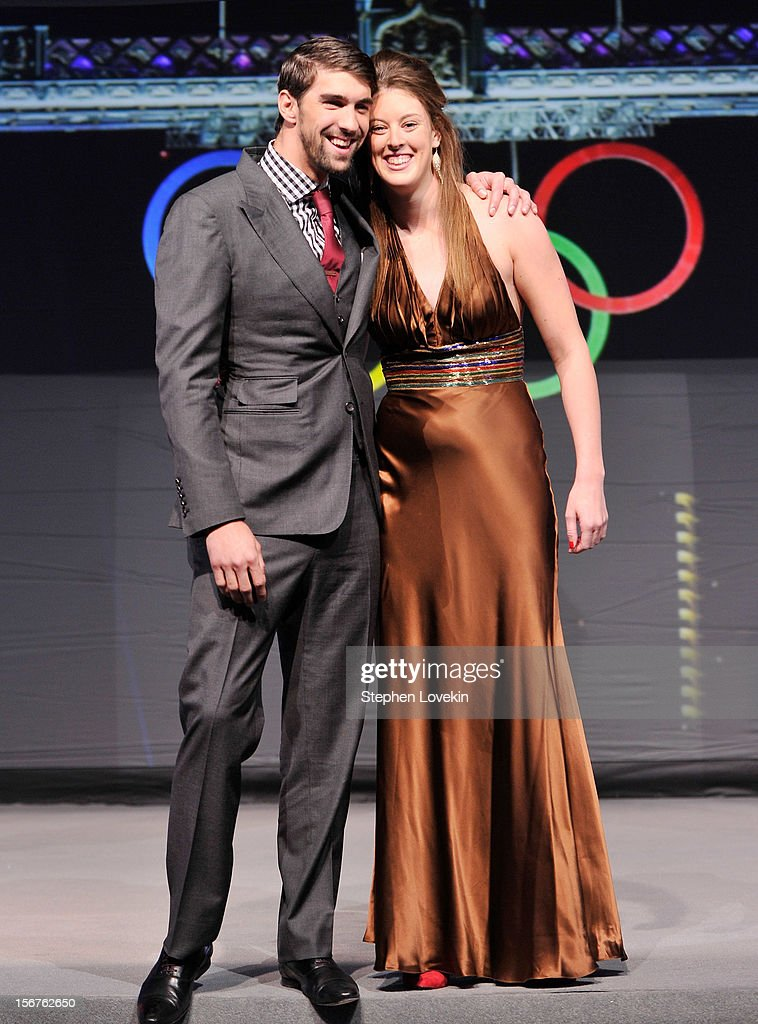 Olympic athletes <a gi-track='captionPersonalityLinkClicked' href=/galleries/search?phrase=Michael+Phelps&family=editorial&specificpeople=162698 ng-click='$event.stopPropagation()'>Michael Phelps</a> and <a gi-track='captionPersonalityLinkClicked' href=/galleries/search?phrase=Allison+Schmitt&family=editorial&specificpeople=4443033 ng-click='$event.stopPropagation()'>Allison Schmitt</a> attend the 2012 Golden Goggle awards at the Marriott Marquis Times Square on November 19, 2012 in New York City.
