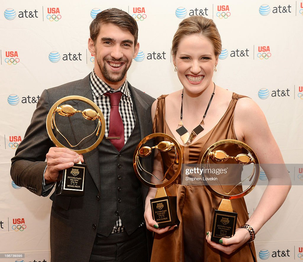 Olympic athletes Michael Phelps and Missy Franklin attend the 2012 Golden Goggle awards at the Marriott Marquis Times Square on November 19, 2012 in New York City.