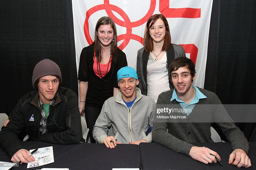 Olympic athletes ski jumper Andrew Johnson, and short track speed skaters Jordan Malone, Travis Jayner, Alyson Dudek, and Katherine Reutter pose for a photo before the game between the Utah Jazz and the Portland Trail Blazers at EnergySolutions Arena on February 3, 2010 in Salt Lake City, Utah.