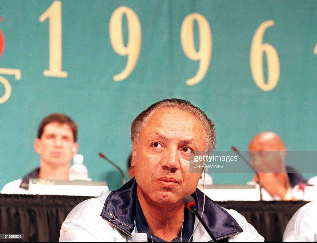 US Olympic basketball coach Lenny Wilkens listens