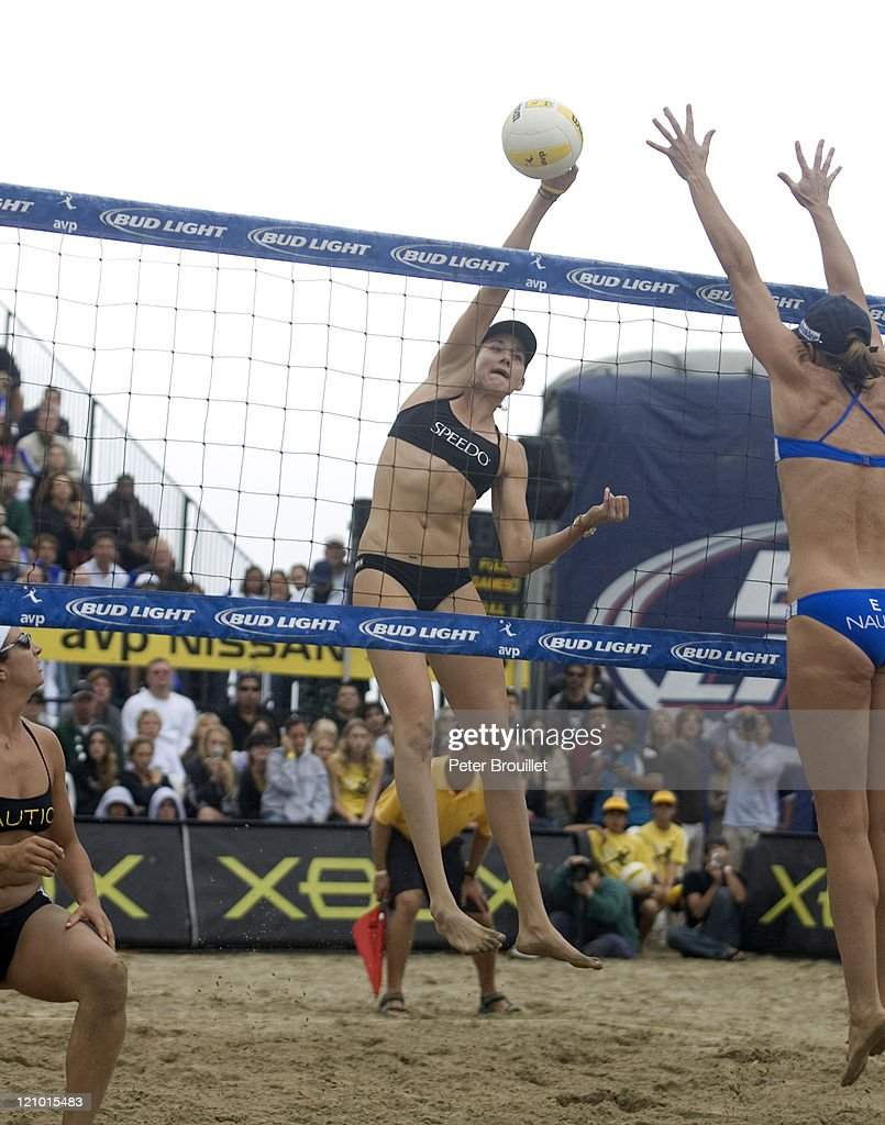 Olympic Beach Volleyball Gold Medalist Kerri Walsh hits past Elaine Youngs in the AVP Santa Barbara Open on October 17 2004 Kerri Walsh and partner...