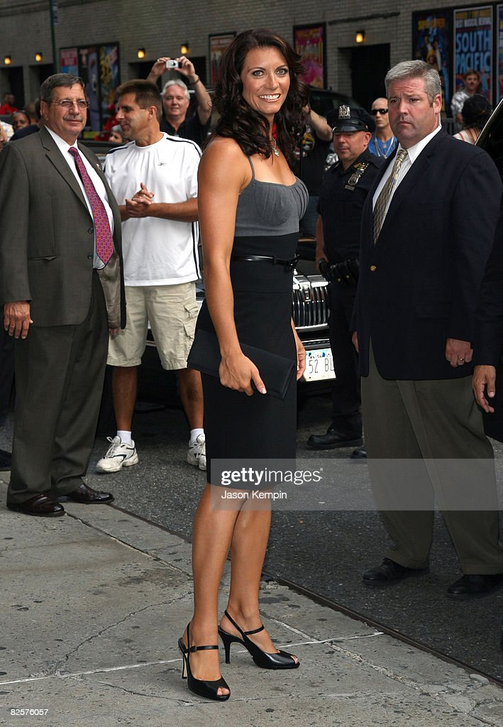 Olympic beach volleyball gold medalist Misty May-Treanor visits the 'Late Show with David Letterman' at the Ed Sullivan Theater August 27, 2008 in New York City.