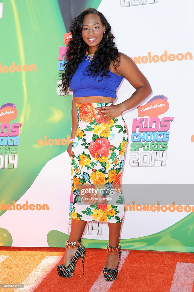 Olympic bobsledder <a gi-track='captionPersonalityLinkClicked' href=/galleries/search?phrase=Jazmine+Fenlator&family=editorial&specificpeople=9988437 ng-click='$event.stopPropagation()'>Jazmine Fenlator</a> attends Nickelodeon Kids' Choice Sports Awards 2014 at Pauley Pavilion on July 17, 2014 in Los Angeles, California.
