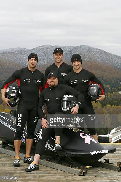 Portrait of USA four man bobsled team Steve Mesler Steve Holcomb Curt Tomasevicz and Justin Olsen at Bobsled Track Lake Placid NY CREDIT Nancie...