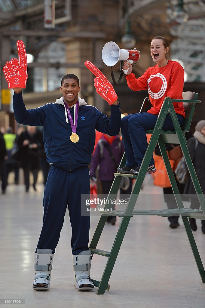 Olympic boxing gold medalist Anthony Joshua and badminton player Susan Egelstaff launch the opening of Glasgow 2014 volunteer applications on January 14, 2013 in Glasgow, Scotland. Up to 15,000 people will be needed to help out at Glasgow's 2014 Commonwealth Games at various venues and athletes' village and successful applicants will be invited to interview from April.