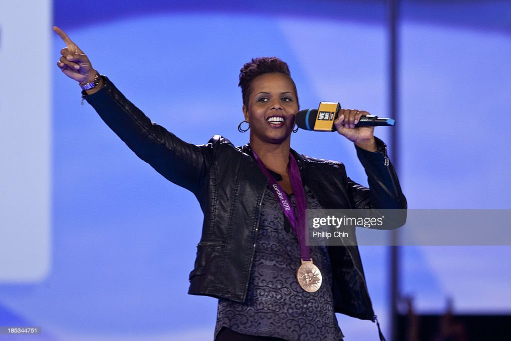 Olympic Bronze Medalist Karina LeBlanc speaks at We Day Vancouver at Rogers Arena on October 18, 2013 in Vancouver, Canada.