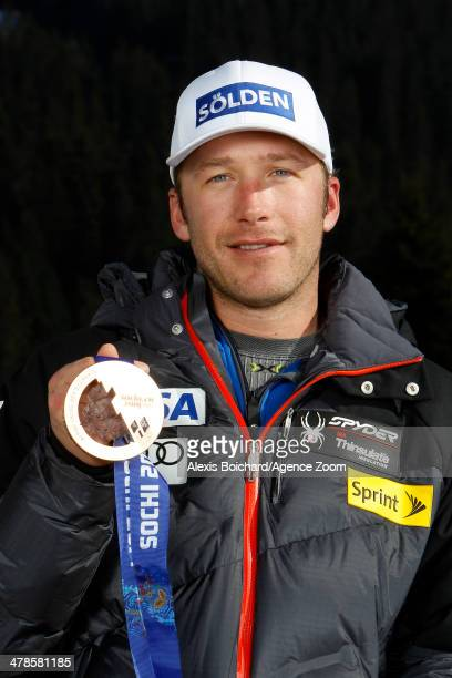 Olympic bronze medallist Bode Miller of the USA during a photo shoot with the US Ski Team Olympic alpine ski medalists on March 13 2014 in...