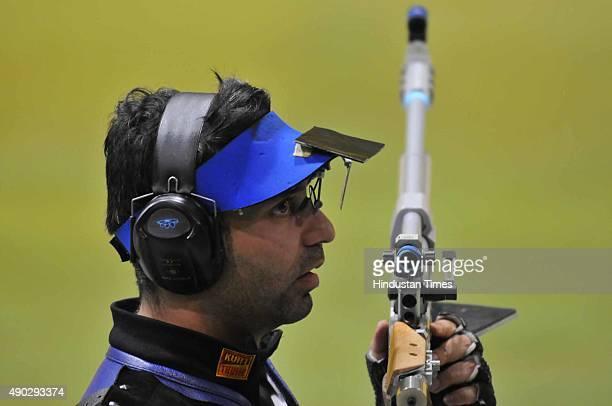 Olympic champion Abhinav Bindra during the qualifying round of 10 metre of Asian AirGun Championship at Dr Karni Singh shooting Range on September 27...